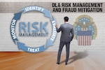Graphic of a man standing in front of a circle on the wall that depicts the four aspects of risk management: identify, evaluate, treat, monitor.