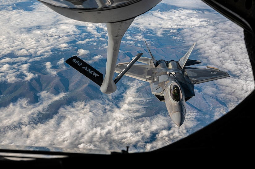 A jet prepares to refuel mid-air.