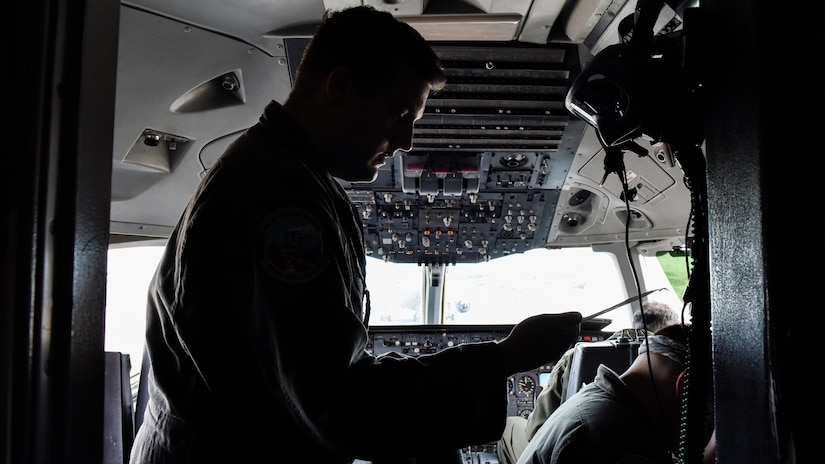 U.S. Air Force Capt. David Crowley, 78th Air Refueling Squadron pilot and 305th Operations Support Squadron Formal Training Unit student, prepares for a training flight at Joint Base McGuire-Dix-Lakehurst, N.J., July 8, 2021. The KC-10 Extender would be meeting up with a KC-135 from Maine for an in-flight refuel as part of the flight training.
