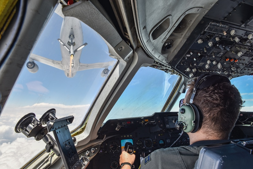 U.S. Air Force Capt. David Crowley, 78th Air Refueling Squadron pilot and 305th Operations Support Squadron Formal Training Unit student, prepares to receive fuel from a KC-135 Stratotanker. Aerial refueling is the process of fuel transfer from one aircraft to another mid-flight, which saves aircrew from having to land and lose time during missions.