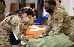 U.S. Air Force Chief Master Sgt. Felicia Williams, right, 56th Logistics Readiness Squadron chief enlisted manager, issues individual protective gear to an Airman assigned to the 56th Fighter Wing Aug. 30, 2021, at Luke Air Force Base, Arizona. More than 70 Luke AFB Airmen deployed to Holloman AFB, New Mexico, in support of Operation Allies Welcome. The operation supports the temporary provision of medical screening, lodging, and other general support for Afghan evacuees and their families arriving to several military installations in the United States. (U.S. Air Force photo by Senior Airman Leala Marquez)