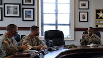 Leaders from the 2nd Battalion, 1st Security Force Assistance Brigade, left, listen to Maj. Gen. William L. Thigpen, right, the U.S. Army South commanding general, during Operation Alamo Shield Mission Prep II at the U.S. Army South Headquarters Sept. 1. Operation Alamo Shield Mission Prep is an Army South-led academics program that increases regional awareness, outlines and explains policy guidance, and highlights lessons learned from previous Security Force Assistance activities for rotating SFA teams. As the Joint Forces Land Component Command for U.S. Southern Command, U.S. Army South serves as the higher headquarters for the Security Force Assistance teams in the USSOUTHCOM area of responsibility, as they use their unique set of skills, experience and advanced technology to train and advise partner nations in the region.