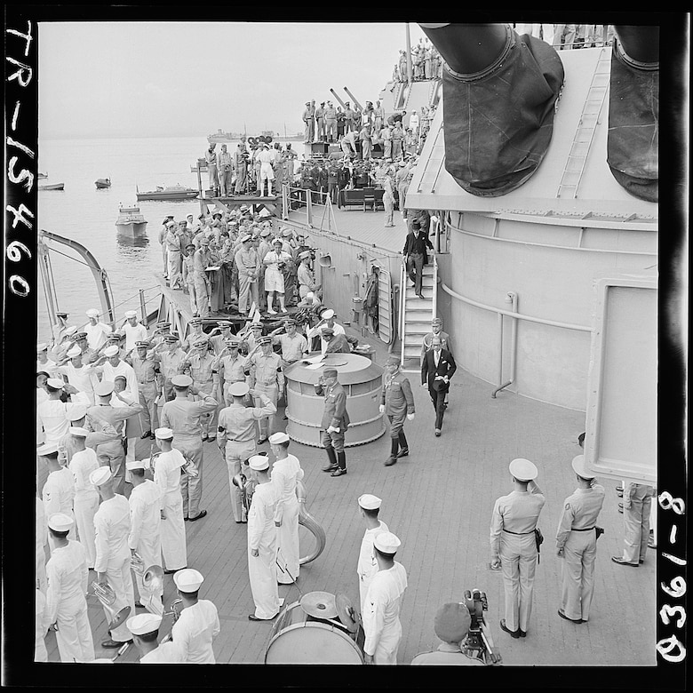 The Japanese envoy leaves the USS Missouri following the signing of the formal surrender Sept.2, 2021. Today, the U.S. commemorates the victory in Japan, or VJ Day, on September 2. (U.S. Navy file photo)