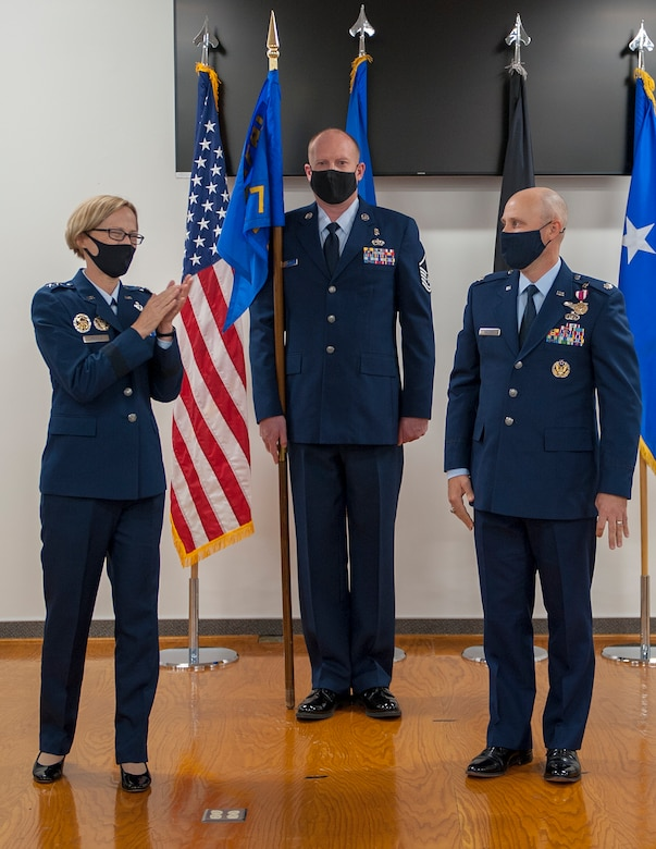 Maj. Gen. Heather Pringle, commander of Air Force Research Laboratory, congratulate Lt. Col. Robert Volesky, after he assumed command of AFRL Detachment 7 at Edwards Air Force Base, California, Aug. 27. (Air Force courtesy photo)