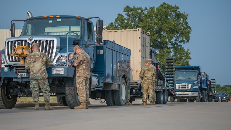 Members of the 138th Fighter Wing depart for Louisiana in support of Hurricane Ida relief efforts, Sept. 2, 2021, at Tulsa Air National Guard Base, Okla. Task Force 90 personnel are expected to help distribute supplies, clear debris from roads and provide security.