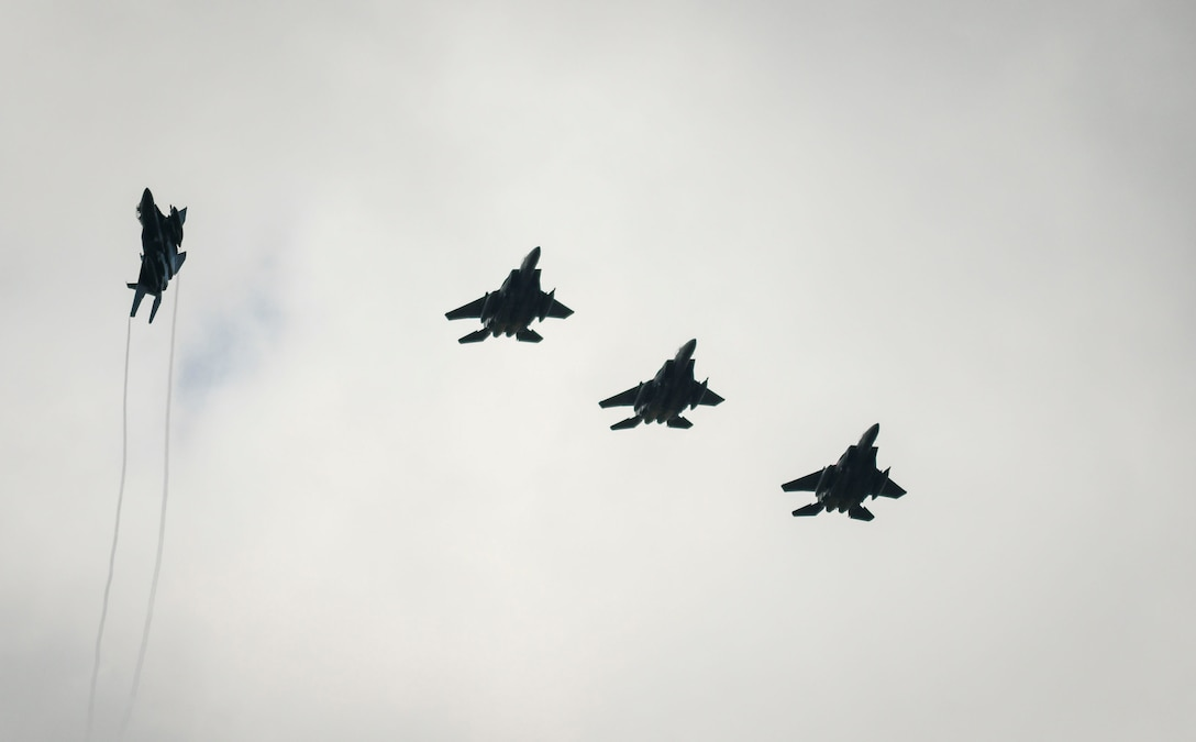 A formation of F-15E Strike Eagles assigned to the 492d Fighter Squadron approach for landing during an Agile Combat Employment exercise at RAF Fairford, England, Aug. 23, 2021. The exercise enables U.S. forces in Europe to operate from locations with varying levels of capacity and support. This further ensures Airmen and aircrews are postured to deliver lethal combat power across the full spectrum of military operations. (U.S. Air Force photo by Master Sgt. Jeff Andrejcik)