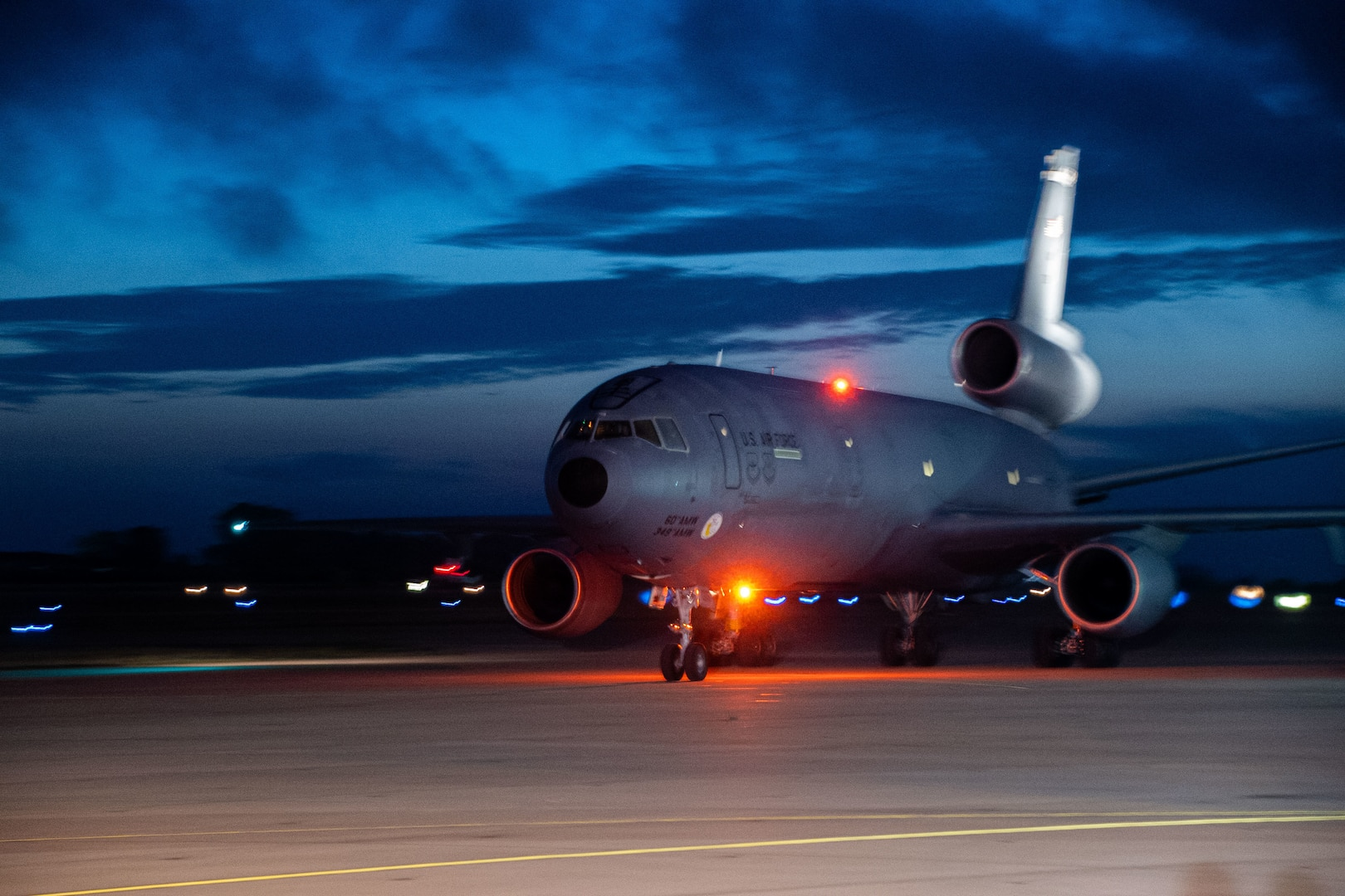 A U.S. Air Force KC-10 Extender lands at Naval Station (NAVSTA) Rota carrying evacuees from Afghanistan, Sept. 1, 2021.