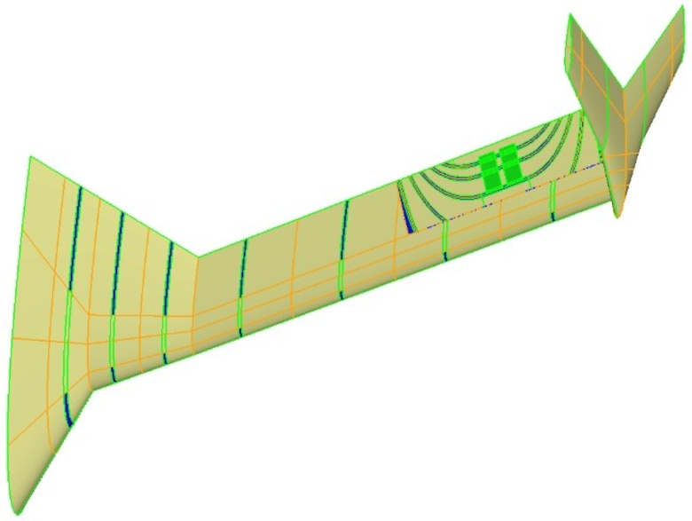 Green and orange illustration of aileron technology.  This illustration highlights the innovations the Aerospace Systems Directorate team achieved in advancing aileron technologies.