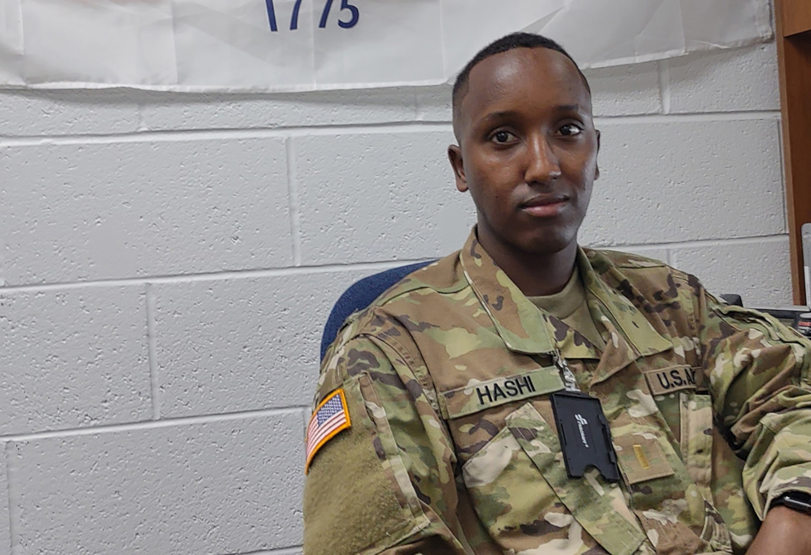 U.S. Army 2nd Lt. Abdimaik Hashi, a newly commissioned transportation officer in the Vermont National Guard, is assigned to assist the Vermont National Guard state resilience coordinator at Camp Johnson, Joint Force Headquarters, Colchester, Vermont. Hashi, shown on Aug. 13, 2021, spent the first eight years of his life in a refugee camp in Kenya.