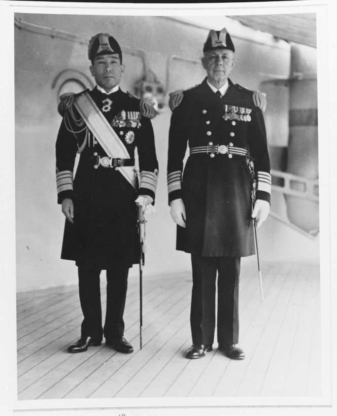 Admiral Harry E. Yarnell, USN, right, with Vice Admiral Kiyoshi Hasegawa, IJN, aboard USS Augusta (CA-31) at Shanghai, China, in May 1937. Hasegawa commanded the Japanese Third Fleet while Yarnell was CINCAF (NH 81617).