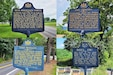 Four Pennsylvania Historical and Museum Commission markers stand in the vicinity of Fort Indiantown Gap, Pa., that detail the history of forts that existed in the area during the French and Indian War. (Photo illustration by Brad Rhen)
