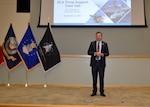 DLA Vice Director Brad Bunn answers employee questions during a town hall he hosted while visiting DLA Philadelphia, September 1, 2021, for the first time in his current role. Employees attended the event in-person and virtually.