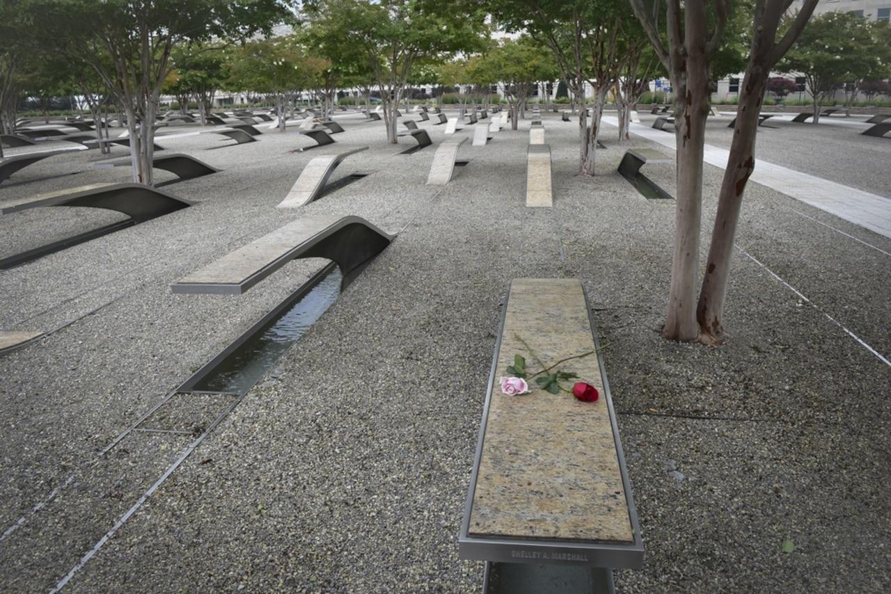 Memorial units are shown at the National 9/11 Pentagon Memorial.