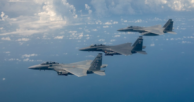 Gen Mark Kelly, Commander of Air Combat Command, leads a two-ship formation of F-15s Eagles from the 53rd Test Wing near Eglin Air Force Base, Fla, Sept. 1, 2021. Gen Kelly, an Eagle pilot for nearly 30 years, flew the Air Force's newest fighter, the F-15EX Eagle II. (U.S. Air Force photo by Tech. Sgt. John Raven)