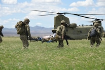 A photo of pararescuemen carrying a simulated casualty towards a chinook helicopter.
