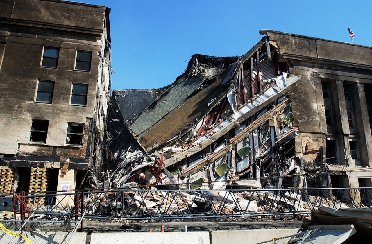 A building lies in ruins.
