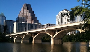 The Ann W. Richards Congress Avenue Bridge in Austin, Texas, was the site of life saving actions conducted by Office of Special Investigations special agents who encountered a veteran contemplating suicide Aug. 16, 2021, by jumping off the bridge into the water below. The structure, named after the 45th Governor of Texas, spans 946 feet and is 446 feet above the waterline of the Colorado River. (Courtesy photo)
