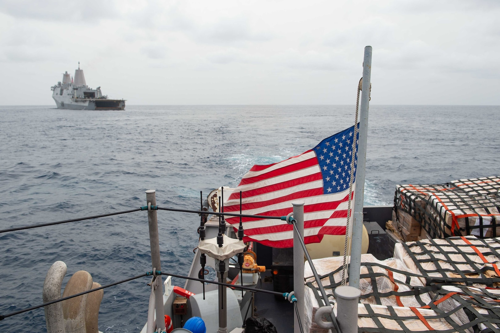 An LCU departs USS Arlington (LPD 24) to deliver food to the Port of Jérémie, Haiti in support of a USAID and Joint Task Force-Haiti humanitarian aid mission.