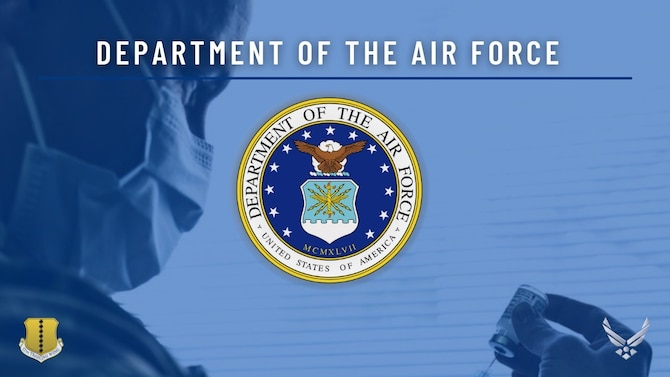 Graphic featuring the Department of the Air Force Story regarding  mandatory COVID vaccine implementation guidelines for Airmen, Guardians