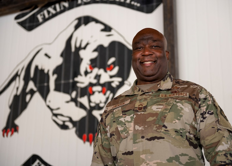 Chief Master Sgt. Jackson poses for photo