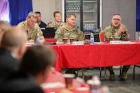 U.S. Army Lt. Gen. Paul T. Calvert, Combined Joint Task Force Operation Inherent Resolve (CJTF-OIR) commander, speaks to Ambassadors of joint partner nations during Ambassadors' Day in Baghdad, Iraq.