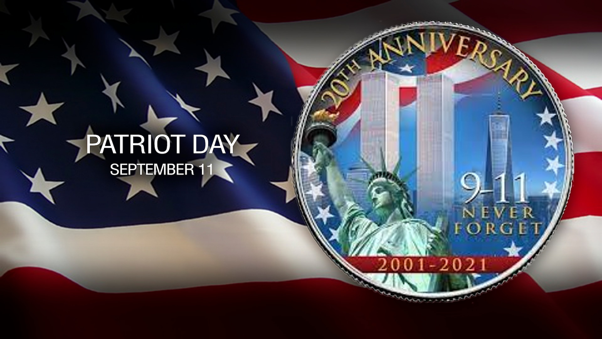 Graphic with the American flag and a logo imposed on top with the statue of liberty and towers of the world Trade Center.