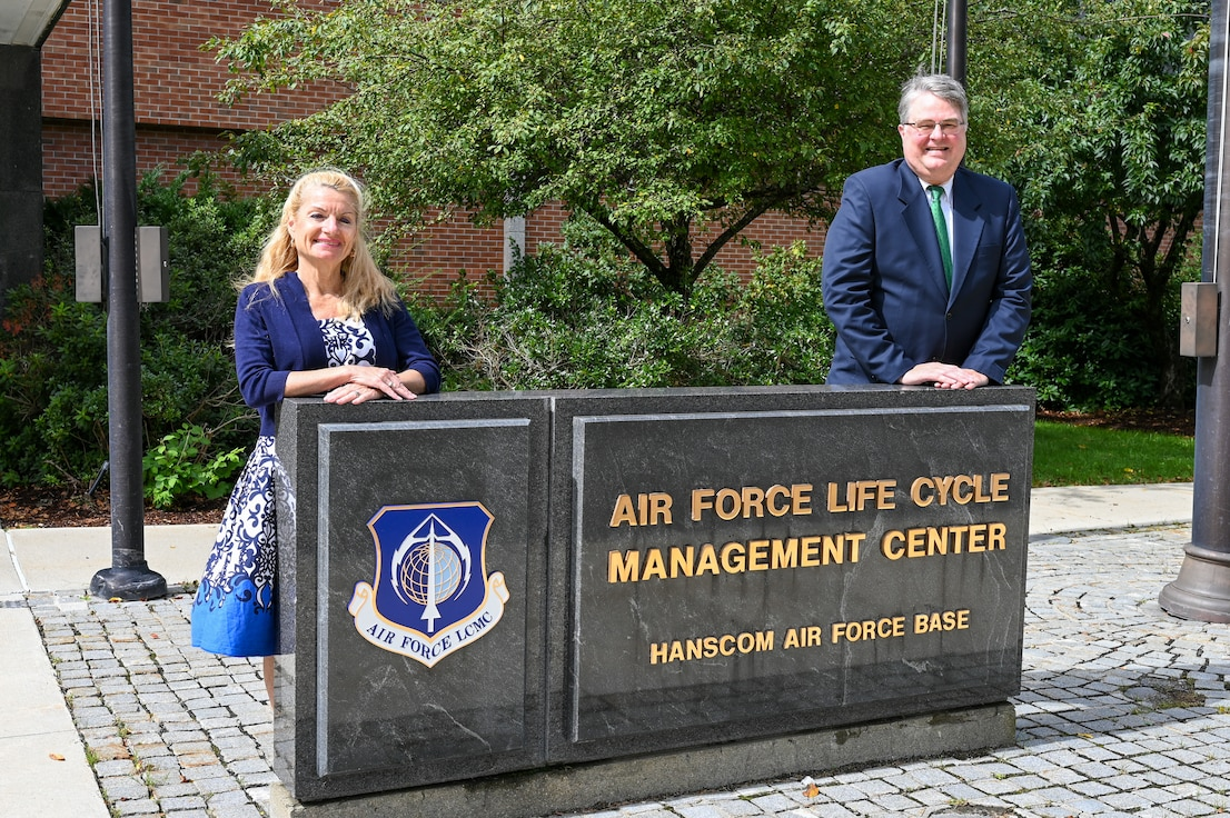 Ellen McDonnell, Air Force Life Cycle Management Center Small Business professional, and Jeff Emmons, AFLCMC Small Business Programs director at Hanscom Air Force Base, Mass., pose for a photo at Hanscom AFB, Sept. 2. McDonnell was named the Air Force's Small Business Professional of the Year for 2020 and Emmons was awarded the Department of Defense's 2020 Tracey L. Pinson Small Business Professional of the Year award.  (U.S. Air Force photo by Mark Herlihy)