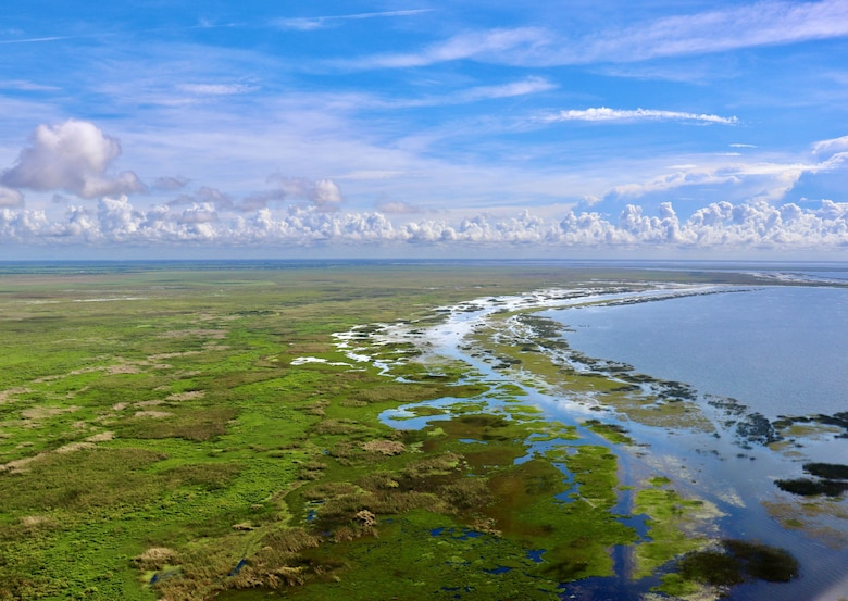 A ring of clouds often surrounds Lake Okeechobee on summer days