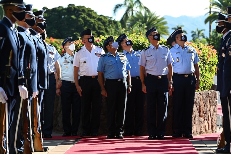 Photo of Air Chiefs from the Indo-Pacific Region watching a flyover
