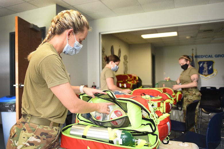 Airmen of the 159th Medical Group perform equipment and inventory checks to ensure proper response to medical emergencies to the aftermath of Hurricane Ida in Belle Chasse, Louisiana, Aug. 31, 2021. The 159th Medical Group maintains mission readiness to be fully prepared to respond to natural disasters.
