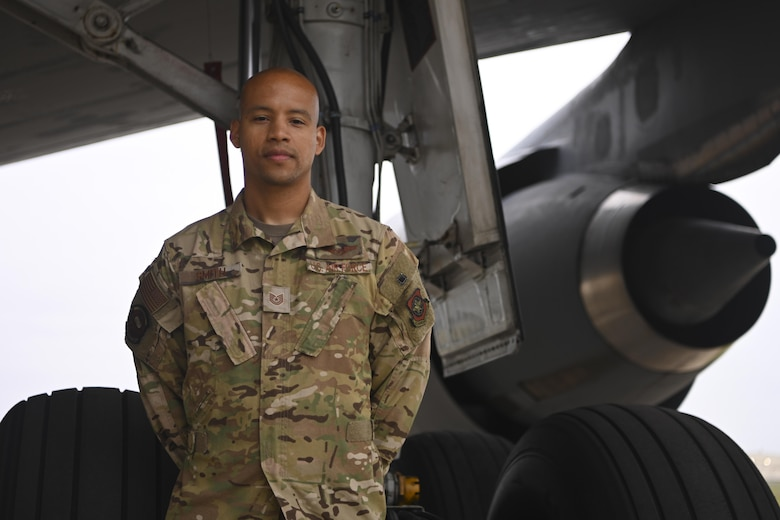 U.S. Air Force Tech. Sgt. Calvin Smith, 9th Air Refueling Squadron flight engineer, assisted in the evacuation operations of eligible foreigners and vulnerable Afghans during Operation Allies Refuge.  Royal Air Force Mildenhall, England, served as a staging area for his crew's participation in the evacuation. (U.S. Air Force photo by Senior Airman Joseph Barron)