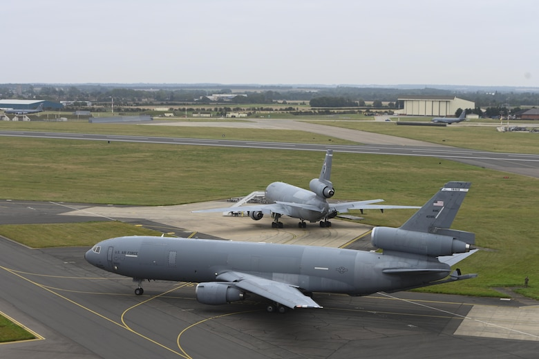 A U.S. Air Force KC-10 Extender aircraft assigned to the 60th Air Mobility Wing, Travis Air Force Base, California, taxis on the flightline at Royal Air Force Mildenhall, England, Sept. 2, 2021. RAF Mildenhall served as a staging area for KC-10s flying missions in support of Operation Allies Refuge. (U.S. Air Force photo by Senior Airman Joseph Barron)