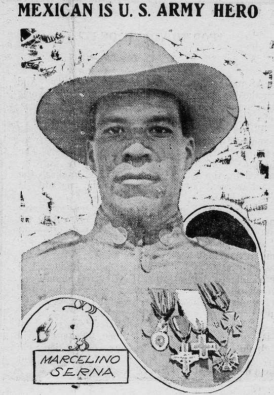 A poster of a soldier is shown.