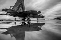 A jet sits on the flightline.