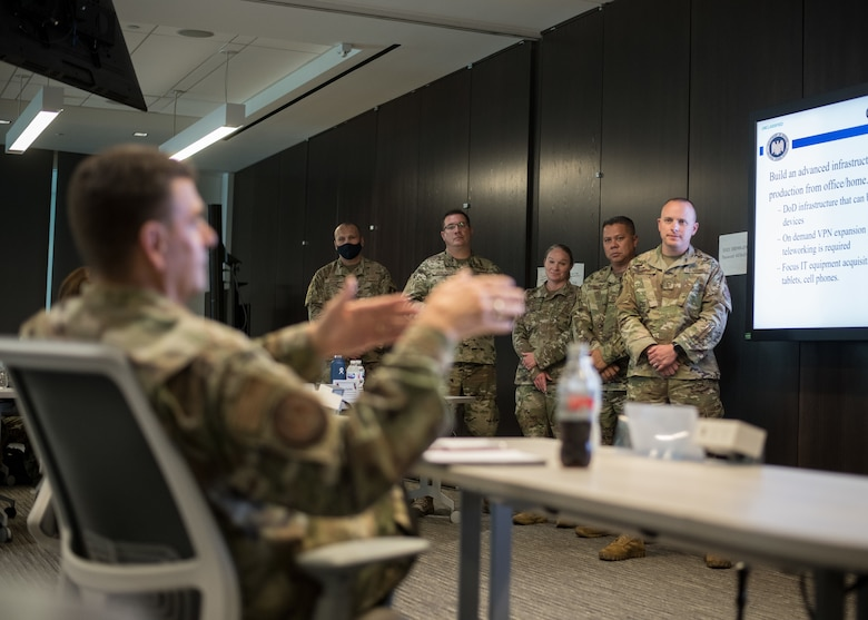 U.S. Air Force Lt. Gen. Michael A. Loh, director, Air National Guard (ANG), provides feedback to students on their capstone project during the Senior Noncommissioned Officer Enhancement Course at the ANG Readiness Center at Joint Base Andrews, Maryland, July 15, 2021. The first course of its kind, the curriculum is designed to empower and inspire senior enlisted leaders stationed across the 50 states, three territories, and District of Columbia to accelerate force-wide improvements and positive change. (U.S. Air National Guard photo by Tech. Sgt. Morgan R. Whitehouse)