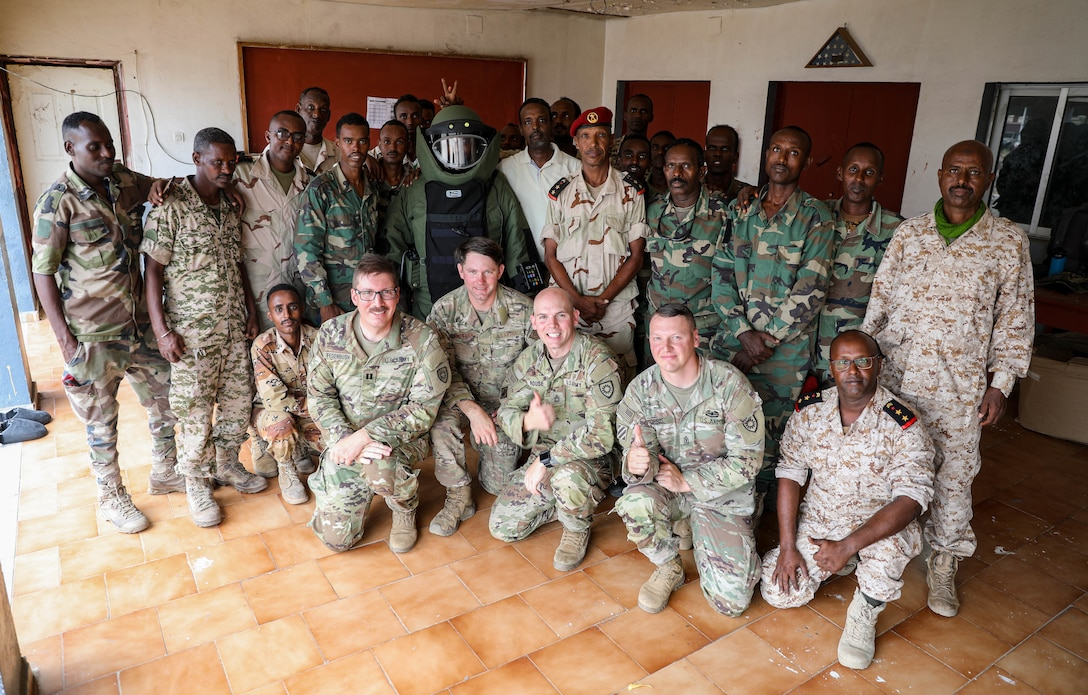 Kentucky National Guard Engineers with the 577th Sapper Company and 123rd Airlift Wing, traveled more than 15,000 miles to Camp Lemonier, Djibouti to conduct training with the Djiboutian military de-mining company as a part of the State Partnership Program (SPP) August 19 – 29, 2021.
