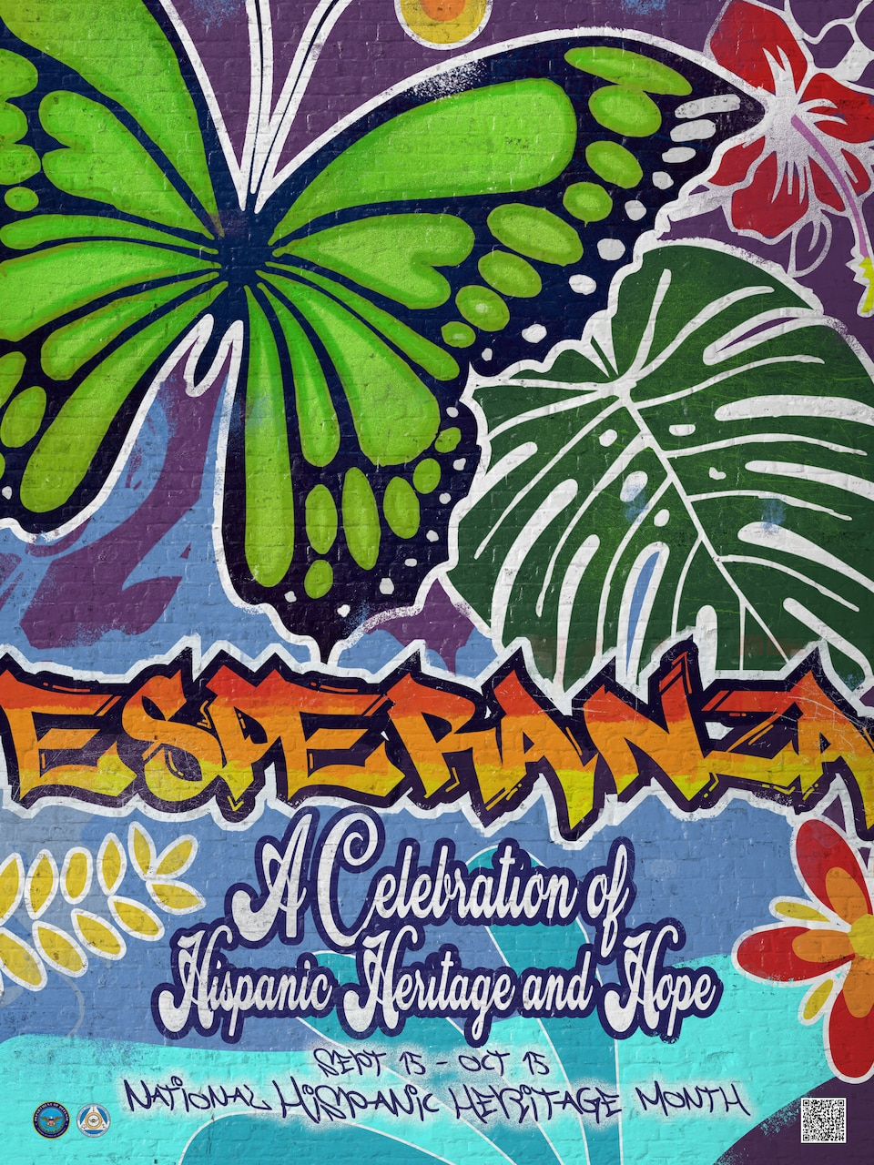 A  multicolored poster with the words: : Esperanza: A Celebration of Hispanic Heritage and Hope.