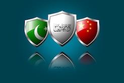 Shields representing the Taliban, Pakistan, and China