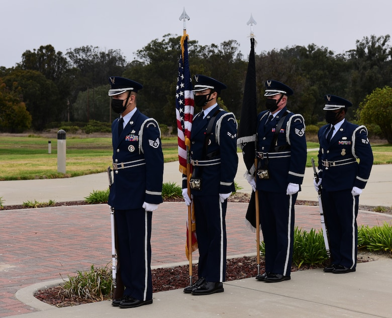 Honor Guard prepares to march for the Space Delta 1 Assumption of Command and 1st Delta Operations Squadron Ceremony on Vandenberg Space Force Base, September 2, 2021.