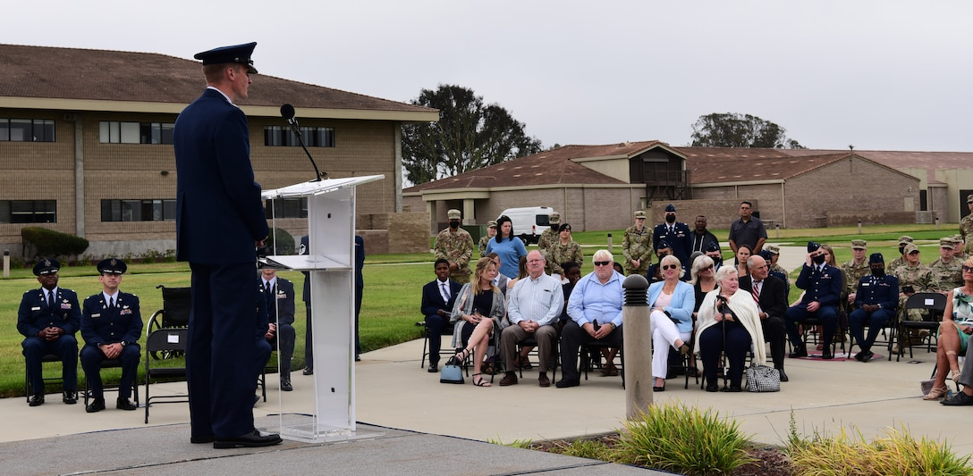 Col. Jason Schramm, Commander of Delta 1, greeted and spoke to the audience during the assumption of command at Vandenberg Space Force Base, September 2, 2021.