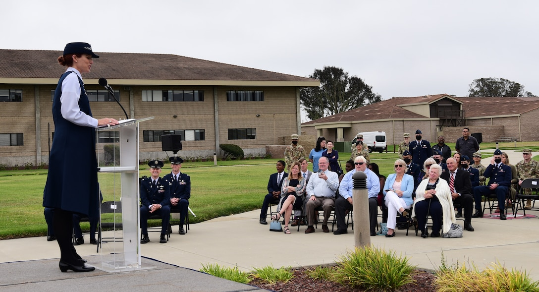 Lt. Col. Tara Shea, 1st Delta Operations Squadron Commander, greeted and spoke to the audience during the assumption of command at Vandenberg Space Force, Base, September 2, 2021.