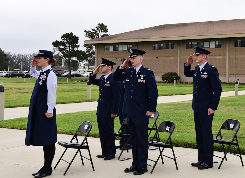 The distinguished guests formed in a delta and saluted at the assumption of command ceremony at Vandenberg Space Force Base, September 2, 2021.