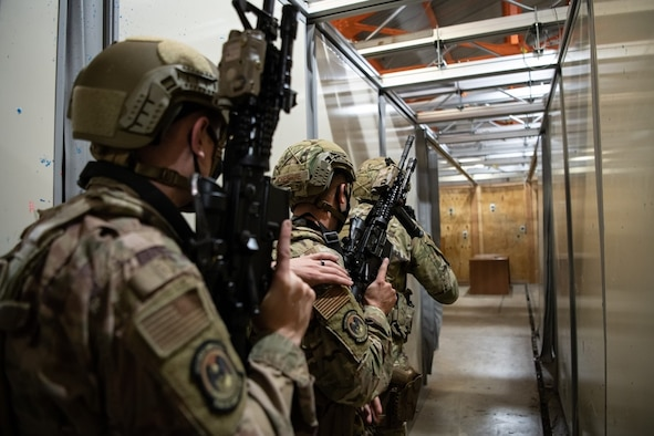 A group of 28th Security Forces Squadron Airmen participate in close quarters training in preparation for the Global Strike Challenge 2021 on Ellsworth Air Force Base, S.D., Aug. 27, 2021.