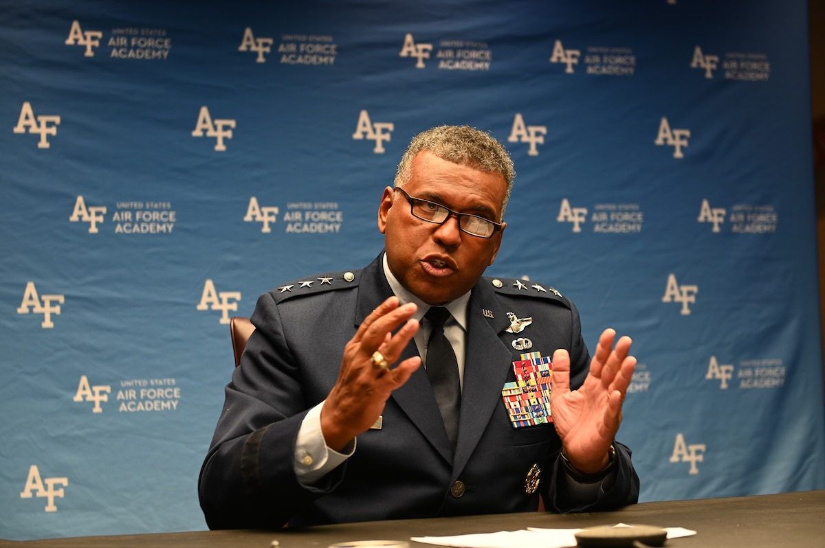Lt. Gen. Richard Clark, U.S. Air Force Academy superintendent, delivers opening remarks during the virtual National Discussion on Sexual Assault and Sexual Harassment with America's Colleges, Universities and Service Academies, at the U.S. Air Force Academy, Colo., Sept. 7, 2021. The multi-day, collaborative event enabled more than 200 senior leaders from the Department of Defense and civilian academic institutions to develop partnerships and to share evidence-based best practices to prevent sexual assault and sexual harassment at colleges, universities and service academies. (U.S. Air Force photo by Tech. Sgt. Zach Vaughn)