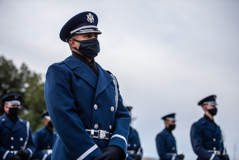 U.S. Air Force Maj. Justin Boyd, United States Air Force Honor Guard director of operations, participates as a ceremonial marcher in an 59th Presidential Inauguration rehearsal for President Joseph R. Biden Jr. in Washington, D.C., Jan. 18, 2021. Boyd was nominated for the 2021 Tuskegee Airman, Inc. General Benjamin O. Davis Jr. Military Award for field grade officers at the 11th Wing, Joint Base Anacostia-Bolling, Washington, D.C. Nominees exhibited outstanding performance in both professional and community service. Three Airmen nominated in three categories from the 11th Wing at JBAB will now compete at the Air Force District of Washington direct-reporting unit and major command level. (U.S. Army photo by Sgt. Jacob Holmes)