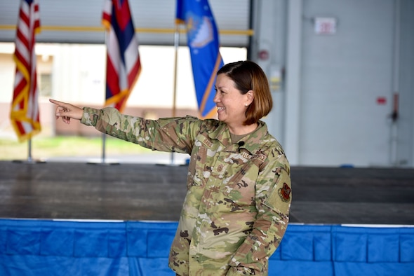 Chief Master Sergeant of the Air Force JoAnne S. Bass thanks the support staff who put together an all call during her visit at Joint Base Pearl Harbor-Hickam, Hawaii, September 1, 2021. Chief Bass' tour of JBPHH allowed her to visit and learn about the Airmen stationed in Hawaii and their mission. (U.S. Air Force Photo by 1st Lieutenant Benjamin Aronson)