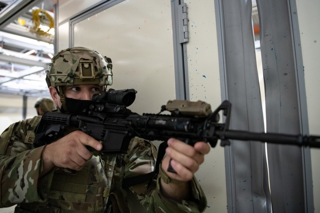 Tech Sgt. Lance Bollenberg, 28th Security Forces  non commissioned officer in charge of physical security, participates in a close quarters exercise on Ellsworth Air Force Base, S.D., Aug . 27, 2021.
