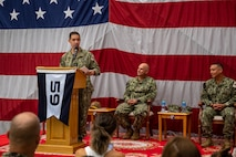 Vice Adm. Brad Cooper, commander of U.S. Naval Forces Central Command, U.S. 5th Fleet and Combined Maritime Forces, speaks during a commissioning ceremony for Task Force (TF 59) onboard Naval Support Activity Bahrain, Sept. 9. TF 59 is the first U.S. Navy task force of its kind, designed to rapidly integrate unmanned systems and artificial intelligence with maritime operations in the U.S. 5th Fleet area of operations.
