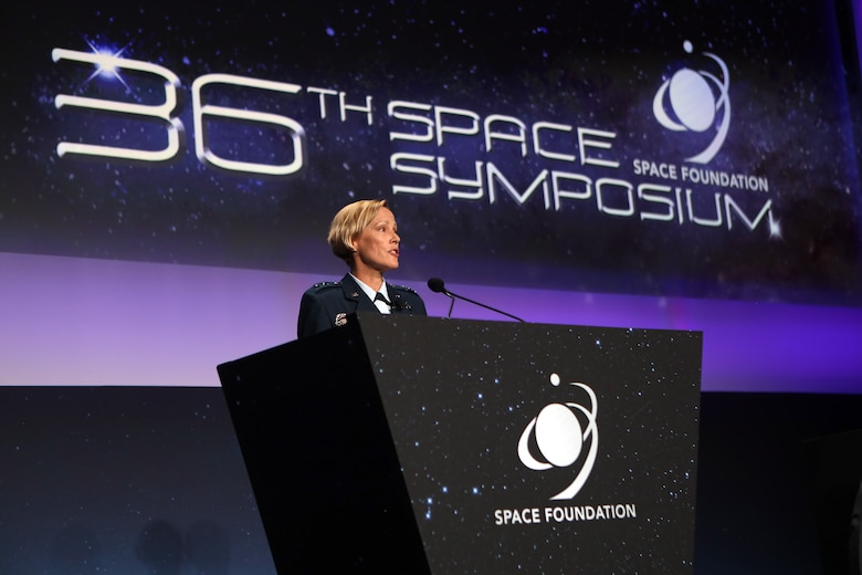"""Maj. Gen. Heather L. Pringle, commander of the Air Force Research Laboratory, addresses attendees and those tuned in via virtual connections during the Space Foundation's 36th National Space Symposium Aug. 26, 2021 in Colorado Springs, Colorado. """"When it comes to science and technology, I take our role very seriously, and I believe that it's non-negotiable that we pursue game-changing technologies for both Airmen and Guardians,"""" Pringle said. """"We are one lab supporting two services. As Secretary Kendall says, 'It's one team, one fight.'"""" (Courtesy photo)"""