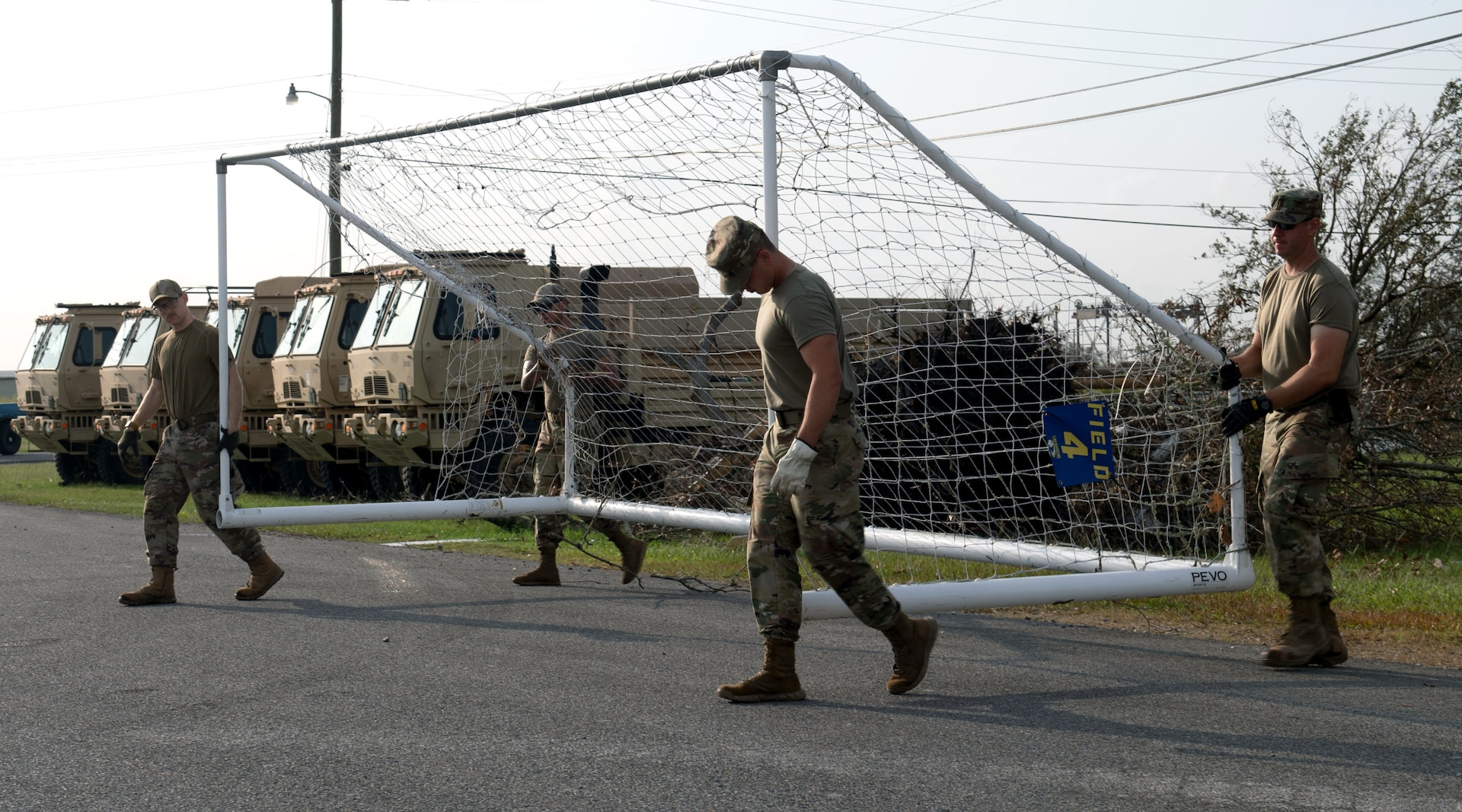 Members of the 149th Fighter Wing help clean up the Raceland Community Center in Raceland, Louisiana., during Hurricane Ida response Sept. 6, 2021.